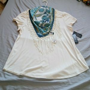 Style & Co top with removable scarf size L nwt